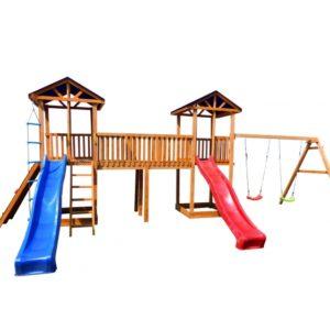 Детская площадка Можга Спортивный городок 6 с качелями и широким скалодромом тент