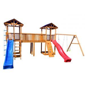 Детская площадка Можга Спортивный городок 6 с качелями и узким скалодромом тент