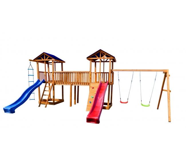 Детская площадка Можга Спортивный городок 6 с качелями и узким скалодромом тент1
