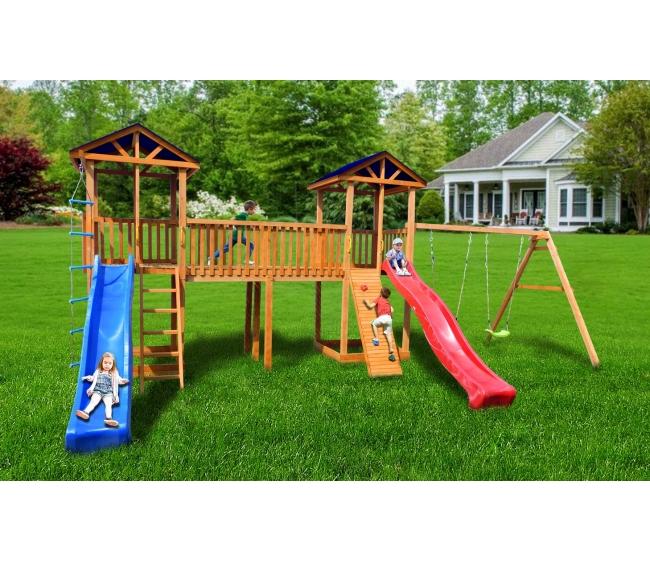Детская площадка Можга Спортивный городок 6 с качелями и узким скалодромом тент3