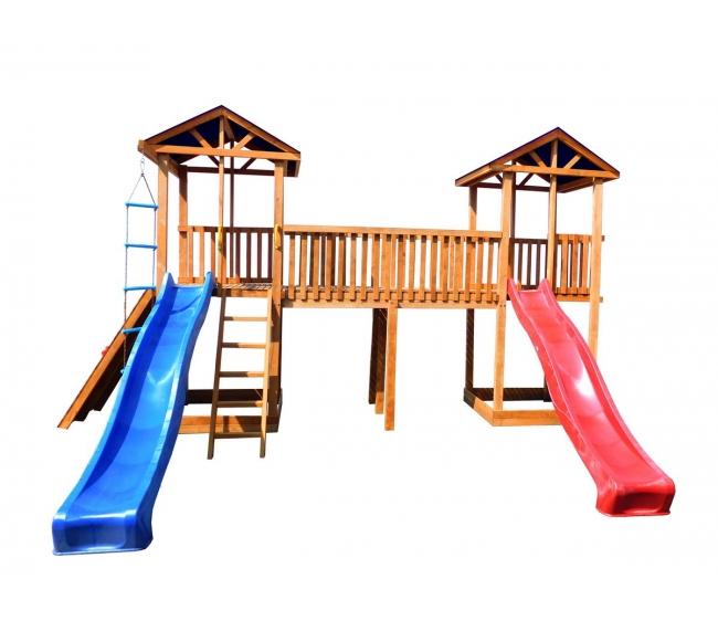 Детская площадка Можга Спортивный городок 6 с широким скалодромом тент