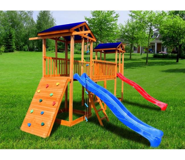 Детская площадка Можга Спортивный городок 6 с широким скалодромом тент2
