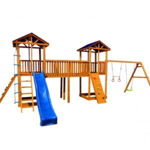 Детская площадка Можга Спортивный городок 7 с качелями и двумя скалодромами тент