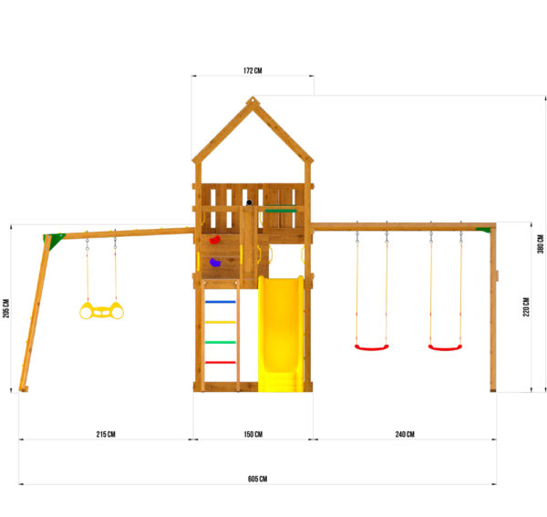 Детская площадка Jungle Palace + Swing X'tra + рукоход с гимнастическими кольцами3