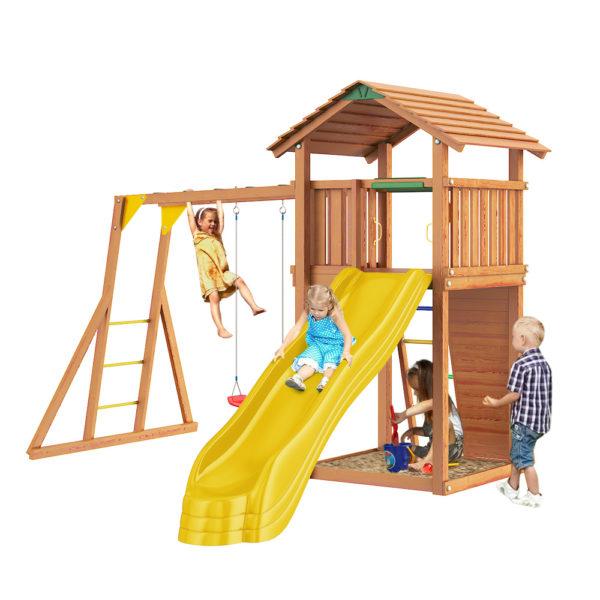 Детские городки Jungle Cottage+ Rock + Рукоход с качелей