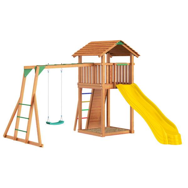 Детские городки Jungle Cottage+ Rock + Рукоход с качелей1