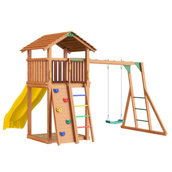 Детские городки Jungle Cottage+ Rock + Рукоход с качелей2