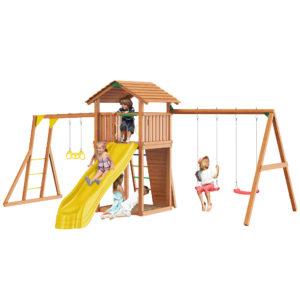 Детские городки Jungle Cottage + Rock +SwingModule Xtra + Рукоход с гимнастическими кольцами