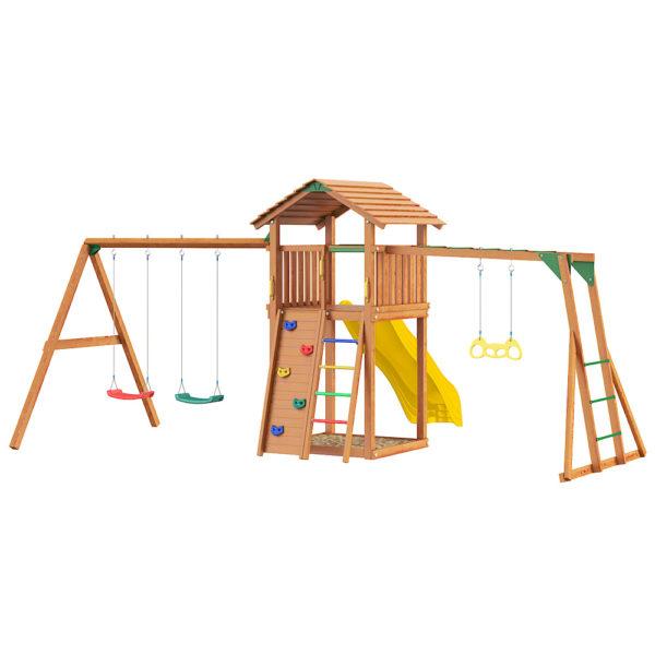 Детские городки Jungle Cottage + Rock +SwingModule Xtra + Рукоход с гимнастическими кольцами1