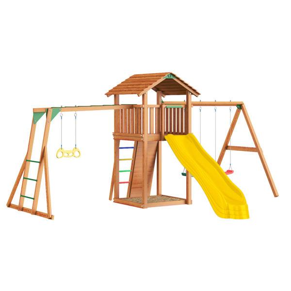 Детские городки Jungle Cottage + Rock +SwingModule Xtra + Рукоход с гимнастическими кольцами2