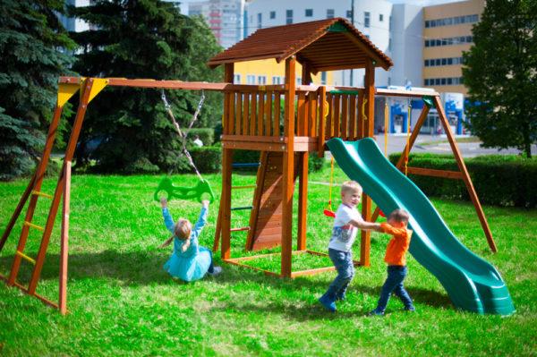 Детские городки Jungle Cottage + Rock +SwingModule Xtra + Рукоход с гимнастическими кольцами3