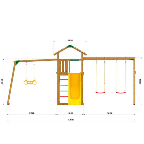Детские городки Jungle Cottage + Rock +SwingModule Xtra + Рукоход с гимнастическими кольцами4