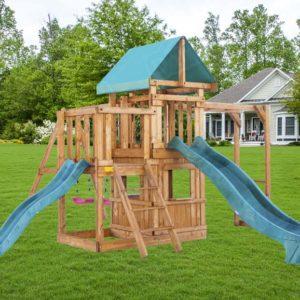 Детская площадка Babygarden с балконом закрытым домиком рукоходом и двумя горками