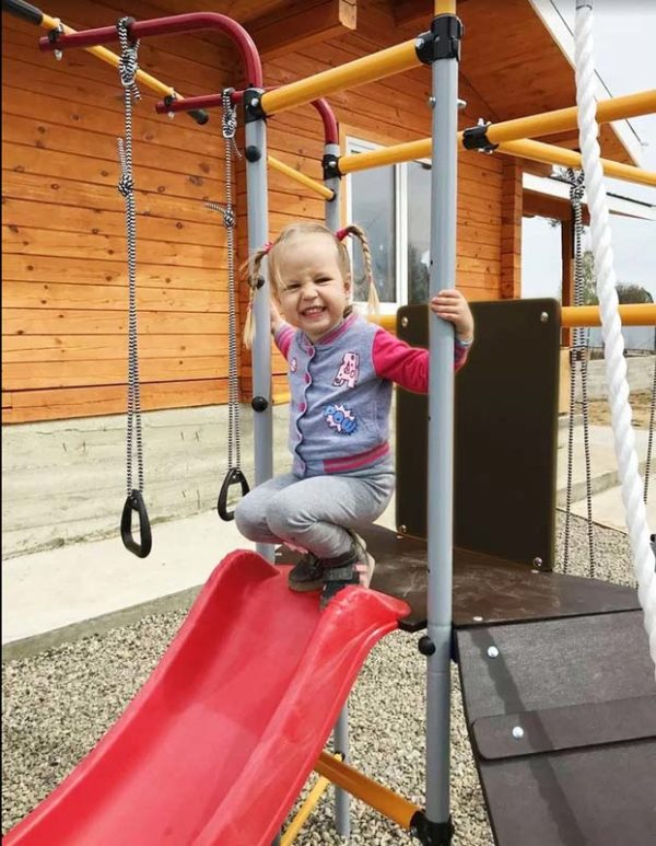 Детский спортивный комплекс для дачи ROMANA Островок Плюс качели фанерные