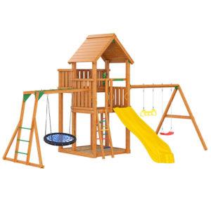 Детская площадка Jungle Palace + Swing X'tra + качели-гнездо + рукоход