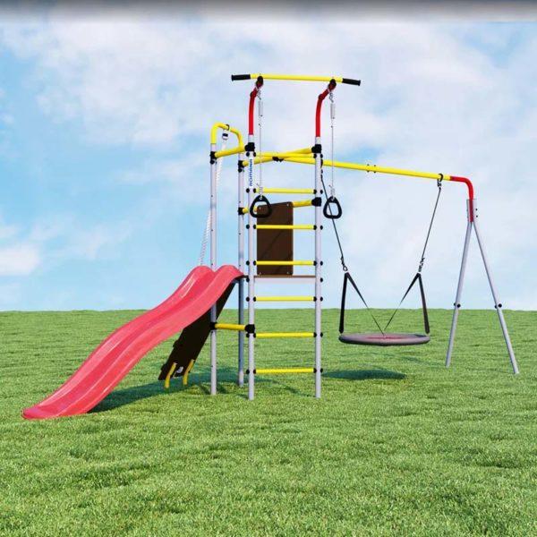 Детский спортивный комплекс для дачи ROMANA Островок Плюс качели-гнездо