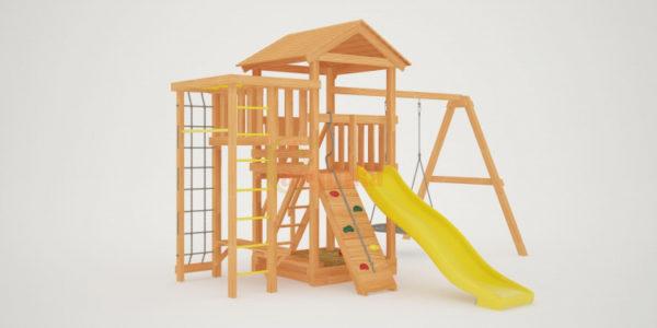 Детская площадка Савушка Мастер 3 с качелями Гнездо 1 метр