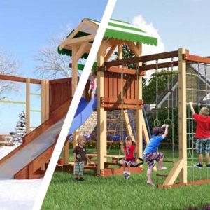 Детская площадка Савушка 4 сезона — 6 + качели-гнездо