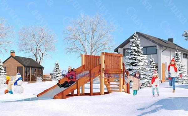 Зимняя деревянная игровая горка Савушка «Зима» — 1