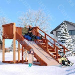 Зимняя деревянная игровая горка Савушка «Зима» — 3