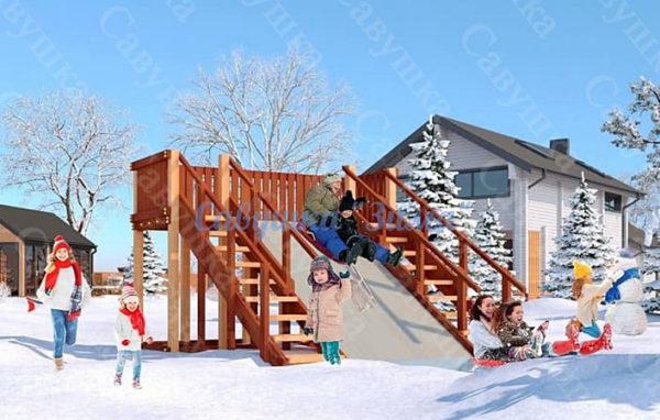 Зимняя деревянная игровая горка Савушка «Зима» — 4