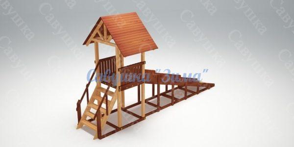 Зимняя деревянная игровая горка Савушка «Зима» — 5_5