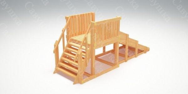 Зимняя деревянная игровая горка Савушка «Зима wood» — 1_2