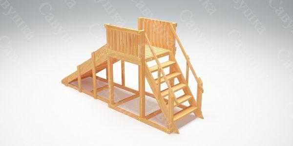 Зимняя деревянная игровая горка Савушка «Зима wood» — 2_1