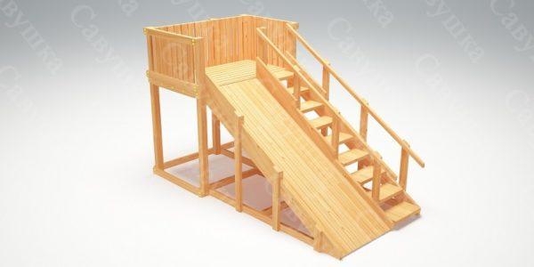 Зимняя деревянная игровая горка Савушка «Зима wood» — 3_4