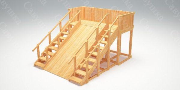 Зимняя деревянная игровая горка Савушка «Зима wood» — 4