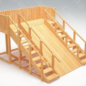 Зимняя деревянная игровая горка Савушка «Зима wood» — 4_1
