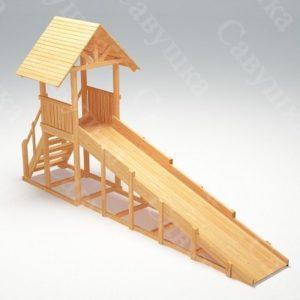 Зимняя деревянная игровая горка Савушка «Зима wood» — 5_1