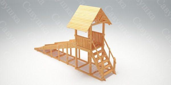 Зимняя деревянная игровая горка Савушка «Зима wood» — 5_3