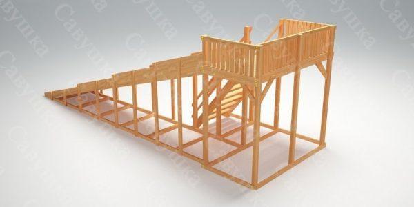 Зимняя деревянная игровая горка Савушка «Зима wood» — 6_2