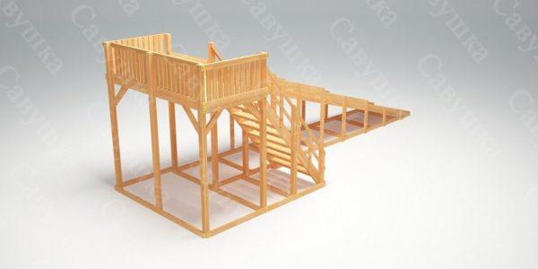 Зимняя деревянная игровая горка Савушка «Зима wood» — 6_3