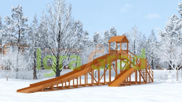 Зимняя деревянная горка Snow Fox 12 м с двумя скатами