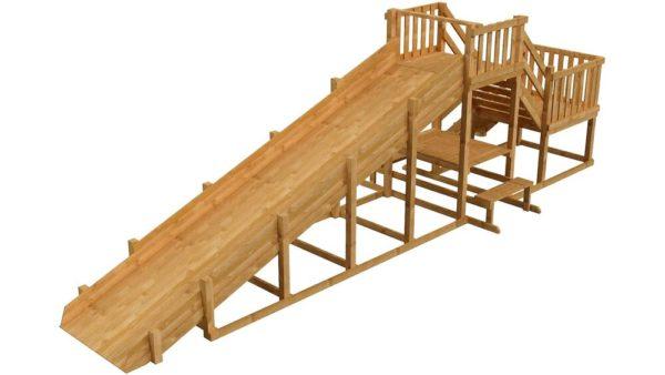 Зимняя деревянная заливная горка Ледянка 2 скат 8м (пропитка)