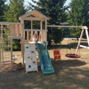 Детская площадка Савушка Мастер 3 + качели-гнездо 0.8м + баскет