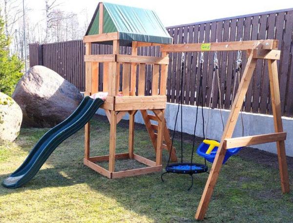 Детская игровая площадка Babygarden Play 1 с качелями-гнездо 0.6м.