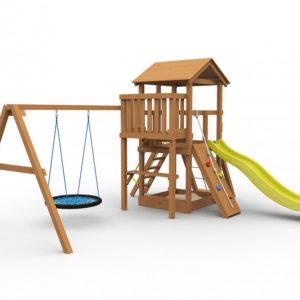 Детская площадка для дачи Барни с гнездом окрашенная