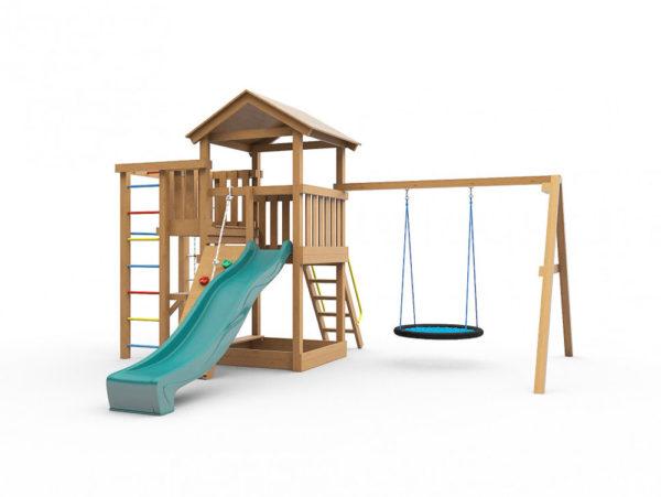 Детская площадка для дачи Лео с гнездом окрашенная